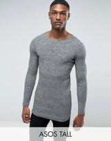 Asos Tall Longline Muscle Fit Ribbed Jumper In Black & White Twist