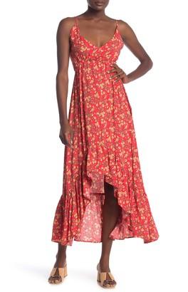 Velvet Torch Floral Sleeveless Ruffled High/Low Dress