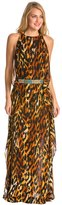 Indah Twiga Printed High Slit Belted Maxi Cover Up Dress 8132279