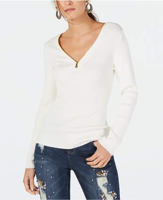 INC International Concepts Inc Zipper Embellished Sweater