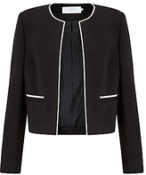 John Lewis Blair Contrast Trim Jacket, Black/Cream