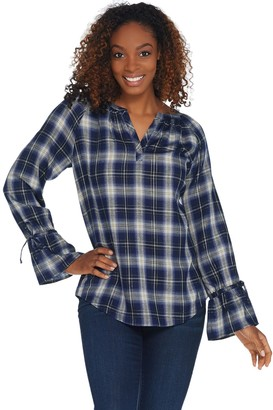 Belle By Kim Gravel Flannel Plaid Blouse with Tie Sleeve