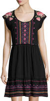 Johnny Was Embroidered Jersey Dress, Black