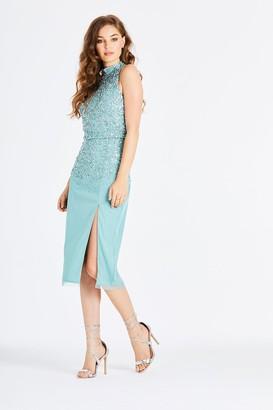 Little Mistress Larissa Blue Hand-Embellished Pencil Midi Dress