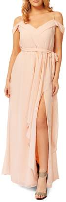 Occasion By Dex Pleated Off-The-Shoulder Gown