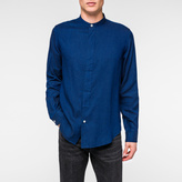 Paul Smith Men's Indigo Pin-Dot Band-Collar Shirt