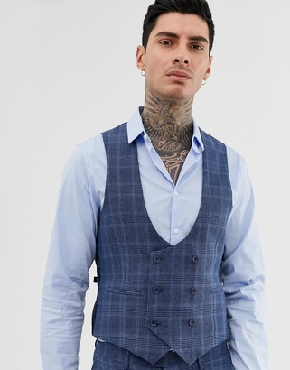 Gianni Feraud slim fit linen blend check suit vest double breasted scoop-Blue