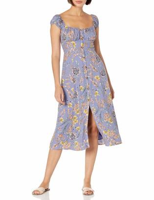 ASTR the Label Women's Cap Sleeve Sqaure Neck Bonjour A LINE Button UP MIDI Dress