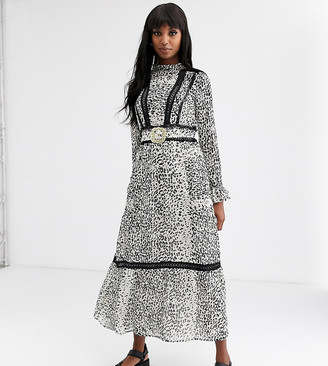 Asos Tall DESIGN Tall lace insert maxi dress with buckle belt in leopard print-Multi