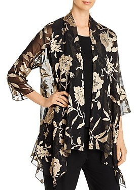 Caroline Rose Floral Burnout Swing Jacket