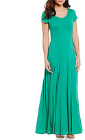 Lauren Ralph Lauren Scoop Neck Short Sleeve Fit & Flare Maxi Dress