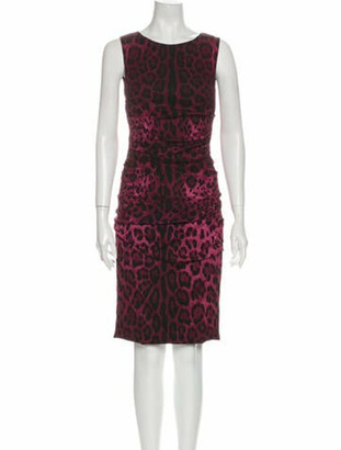 Dolce & Gabbana Animal Print Knee-Length Dress Red