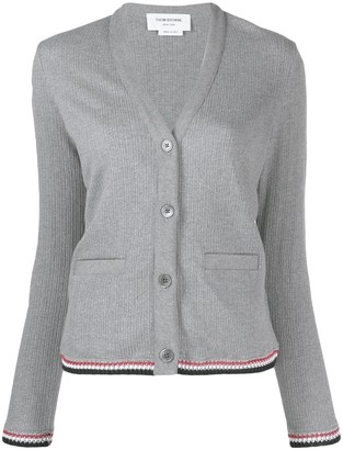 Thom Browne RWB-detail V-neck cardigan