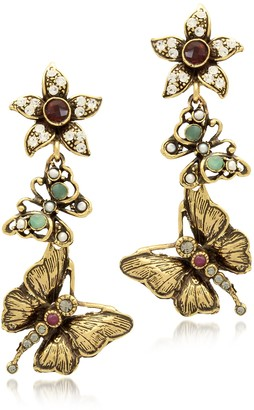 Alcozer & J Gemstone Gold Plated Brass Butterflies With Flower Earrings