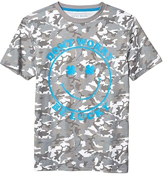 Lucky Brand Kids Camo Tee (Big Kids) (Steeple Gray) Boy's Clothing