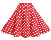 BI.TENCON 1950s Retro Red Polka Dot Skirt High Waisted Full Swing Flare Skirts L