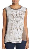 T Tahari Vita Snakeskin-Print Layered Top