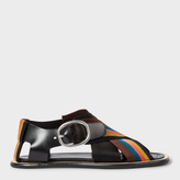 Paul Smith Women's Black Leather Sandals With 'Artist Stripe' Webbing