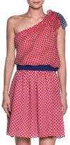 Giorgio Armani Bicolor Organza-Dot One-Shoulder Blouse, Fuchsia/Blue