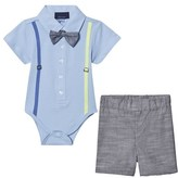 Andy & Evan Navy Polo Shirtzie, Bow Tie and Shorts Set
