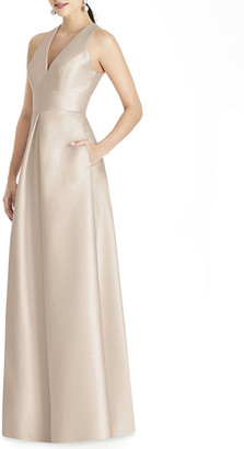 Alfred Sung V-Neck Sleeveless A-Line Gown with Geometric Back-Cutout