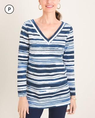 Zenergy Petite Brushed Striped V-Neck Tunic