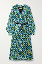 Thumbnail for your product : MICHAEL Michael Kors Kate Belted Floral-print Crepe Midi Dress - Blue
