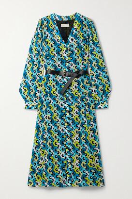 MICHAEL Michael Kors Kate Belted Floral-print Crepe Midi Dress - Blue