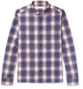 Joseph Elton Button-down Collar Checked Cotton-poplin Shirt - Navy