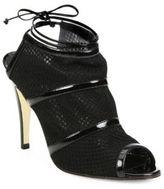 Manolo Blahnik Lavame Mesh & Patent Leather Peep Toe Booties