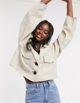 ASOS DESIGN raw hem linen cropped jacket in cream