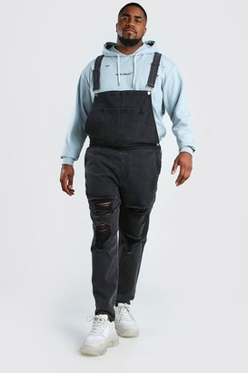boohoo Mens Grey Big And Tall Dungaree With Distressing, Grey
