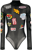 Gcds - multi-patches sheer bodysuit - women - Polyamide/Spandex/Elastane - XS