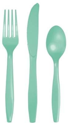 Creative Converting 24ct Fresh Mint Green Assorted Plastic Disposable Silverware Flatware