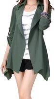 QZUnique Women's Plus-Size Fashional Medium Style Slim-Fit Trench Coat 4XL