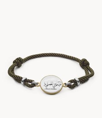 Fossil Modern Americana Olive Fabric Station Bracelet JF03450998
