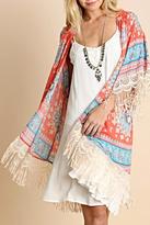 Umgee USA Paisley Fringed Kimono