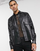 Asos Edition EDITION faux leather western overshirt in black with contrast stitching