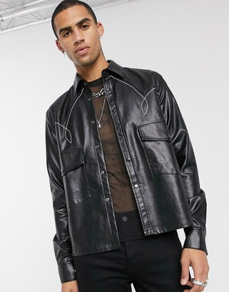 ASOS EDITION faux leather western overshirt in black with contrast stitching