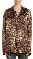 R 13 Boy Leopard-Print Silk Shirt
