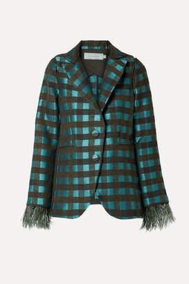 Silvia Tcherassi Davina Feather-trimmed Cutout Checked Tweed Blazer - Teal