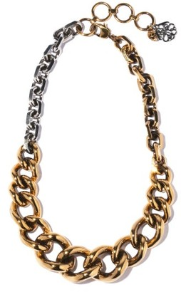 Alexander McQueen Two-tone Chunky-chain Necklace - Silver Gold