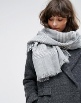 Pieces Gray Scarf with White Stripes