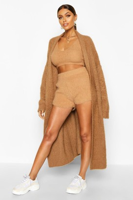 boohoo Premium Oversized Fluffy Knit Maxi Cardigan