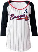 5th & Ocean Women's Atlanta Braves Pinstripe Glitter Raglan T-Shirt