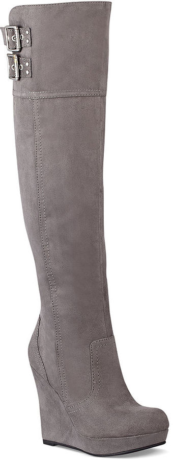 G by Guess Women's Shoes, Saill Over The Knee Platform Wedge Boots