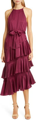 Zimmermann Asymmetrical Tiered Ruffle Silk Charmeuse Dress