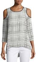 Neiman Marcus Round-Neck 3/4-Sleeve Grid-Print Blouse, Multi