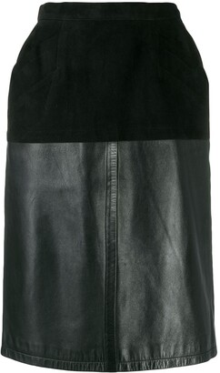 Yves Saint Laurent Pre Owned 1980's Velvet Effect Panel Straight Skirt