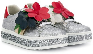 Gucci Kids floral low-top sneakers